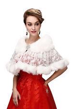 e453449ca7f84 Women's Winter Fur Wraps Ruffle Cape Warm Shawl Elegant Casual Tops Lace  Outwear