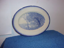 VINTAGE RARE SALAM CHINA OVAL SHAPE SERVING PLATE..in BLUE LAKE PATTERN