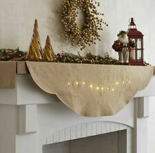 NEW Pier 1 Lit Snowflakes Christmas Winter Fireplace Mantel Scarf Gold SOLD OUT