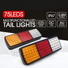 2x LED Tail Lights 12V Brake Reverse 75LED Trailer Truck UTE Caravan