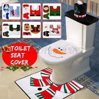 3PCS/Set Christmas Xmas Decoration Santa Toilet Seat & Cover & Rug Bathroom Mat