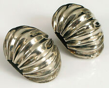 Fashion Earrings Ruffled Shell Mexico ! Vintage Sterling Silver Clip On Fine
