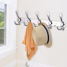 Rack Wall Mounted 15 Hooks Coat Hat Hanger Rail Holder Stainless Steel Silver