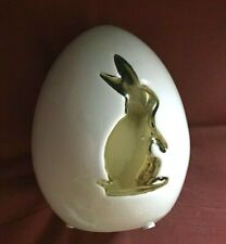 "Pier 1 White Porcelain Easter Egg w/Gold Bunny 5 1/2"" Great Used Condition"