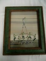 "SIGNED ROGERS TURNER WATERCOLOR PAINTING ""ROUNDEL WITH STILT DANCER"""