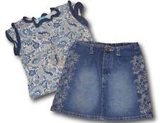 Completo gonna jeans e t-shirt cotone fiori blu MAYORAL bimba bambina 2/3 anni