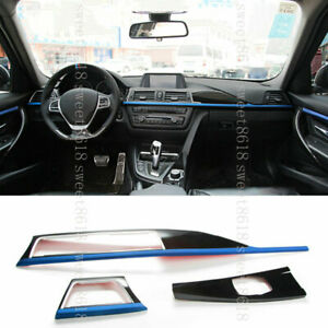 3pc Blue Center Control Air Panel Trim Cover For BMW 3 4 GT Series F30 F46 13-18