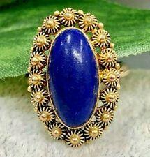 14K Gold Lapis Lazuli Ring-Vintage Estate-Floral Border-Oval Blue Gemstone Ring