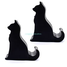 2PCS Universal Black Cat Phone Holder Desk Stand For iPhone Samsung Smartphone