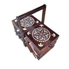 More details for  wooden sewing box 35 cm in dark brown color