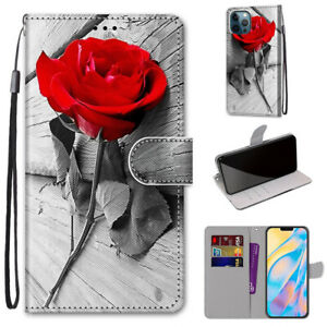 3D Red Rose Flower Flip Stand Leather Card Wallet For Various Phone Case Covers