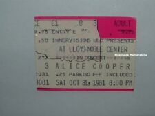 ALICE COOPER Concert Ticket Stub 1981 LLOYD NOBLE CENTER Norman RARE Halloween