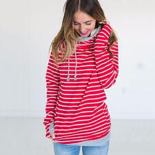 Women's Long Sleeve Hoodies Sweatshirt Hooded Jumper Pullover Sweater Tops Shirt