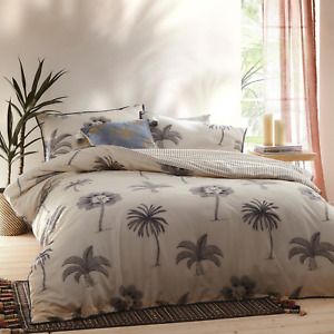 New Debenhams Minna Reversible Palm Tree King Duvet Quilt Cover Bedding Set