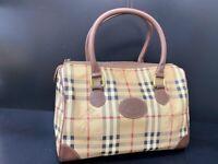 Auth Burberry Nova Check PVC Leather mini Boston Bag Hand Bag Y1064