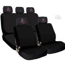 New Car Black Cloth Seat Covers and Red Pink Hearts Logo 4X Headrest For VW