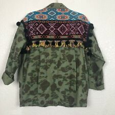 ZARA Camo Tribal Embelished Pompom Jacket, M