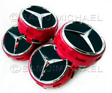 4 x MERCEDES BENZ RED ALLOY WHEEL CENTRE CAPS AMG NEW RAISED DESIGN STYLE