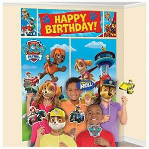 PAW PATROL WALL BANNER DECORATING KIT (5pc) Happy Birthday Party Supplies w prop