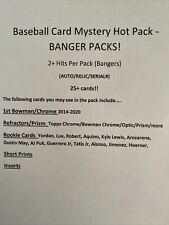 BASEBALL Card Hot Mystery Pack - 2 Hits per pack (Auto/Relic/serial#) 25+ Cards