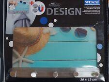 Wenko Magnetische Garderobe BEACH Schlüssel Memoboard Haken Glas mode