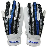 "Primal Baseball Adult ""USA Thin Blue Line"" Police Batting Gloves Size Large"