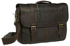 Samsonite Colombian Leather Flapover Laptop Briefcase - Brown