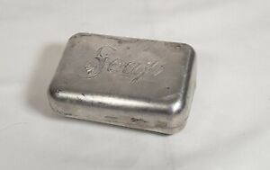 Vintage Aluminum Metal Hinged Travel SOAP Box Container Holder