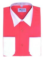 Berlioni Men's Regular Fit Two Tone Dress Shirt Coral