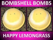 2 PACK SET!! LARGE 4.5 OZ BOMBSHELL BATH BOMB FIZZY LEMONGRASS HAPPY FACE YELLOW