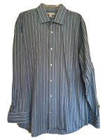 Banana Republic Men's 17 -17.5 XL Shirt Blue Striped Cotton Long Sleeve