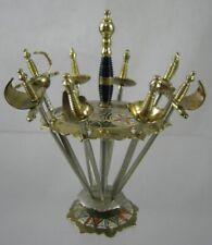 Vintage Toledo 8 Miniature Metal Sword Cocktail Sticks & Display Stand - Spain