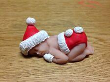 "OOAK 2.5/"" Natale Elfo dormire FIMO Baby Cake Topper Statuina Regalo"