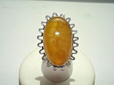 AB Golden Yellow Dragon Veins Agate Oval Solitaire .925 Silver Ring Size 6.25