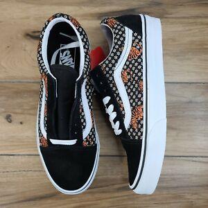 Vans Old Skool Tiger Floral Low Top Canvas Sneakers Black White New Womens 8, 9