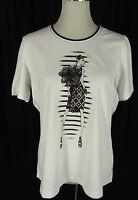 GERRY WEBER Stretch Shirt Gr. DE 42 weiß-schwarz  mit Print  Top T-Shirt Polera