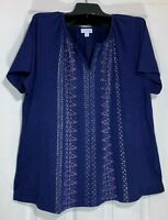 Pure J Jill women Plus size 2XL cotton 100% Pima cotton Indigo printed New