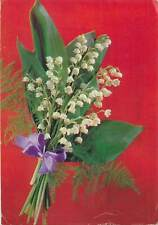 Postcard Greetings Hungary bouquet flowers leaf green white snowdrops