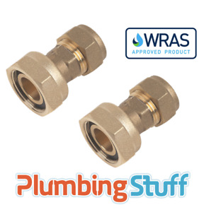 """Tap Connector Straight - 15mm Compression to 3/4"""" BSP Brass - WRAS Approved"""