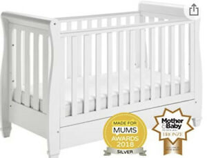 Babymore Eva Sleigh Drop Side Cot Bed with mattress and accessorises - USED!