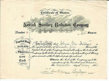 NEW JERSEY Newark Sanitary Reduction Co Stock Certificate 1903 #16 Sewage