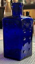 More details for 1915 rare large 115mm hobnail cobalt blue poison bottle - mint condition (h137)