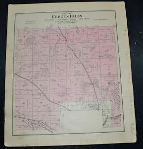 1884 OTTER TAIL COUNTY MAP MINNESOTA Fergus Falls and  Eastern Buse Townships