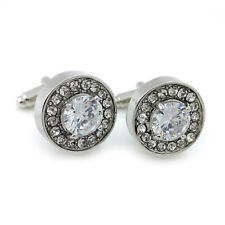 DIAMOND WHITE CRYSTAL SILVER CUFFLINKS + FREE GIFT BOX  & 1ST CLASS POST