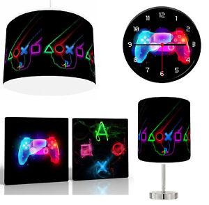 "PLAY STATION PS4 NEON choose Lampshade 10"" , Lamp , Wall Art , Clock or Bundle"