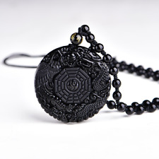 Natural Black Obsidian Pendant Necklace Chinese Dragon Lucky Amulet Talisman