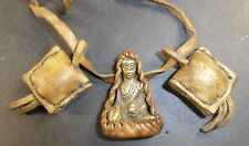 TIBETAN BRONZE MEDICINE BUDDHA PORTABLE GHAU AMULET WITH 2 POWER HERB POUCHES