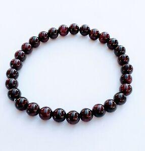 Women's Mens Dark Red Garnet Gemstone Bracelet 6mm Natural Round Beads, Stretchy
