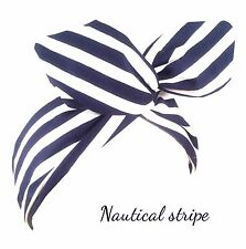 Navy Blue And White Stripe Nautical Wired Headband