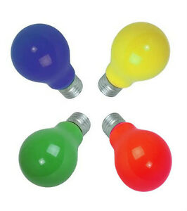 Coloured Light Bulbs Screw ES Cap 25W : Pack of 4 -  Red, Yellow, Green or Blue
